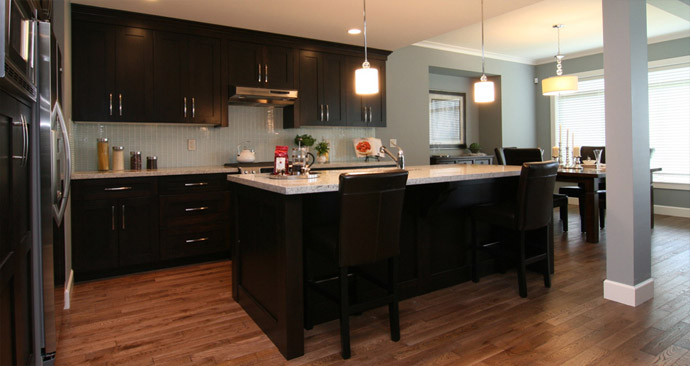 The entertainment kitchen at the new Highlands Abbotsford real estate community.