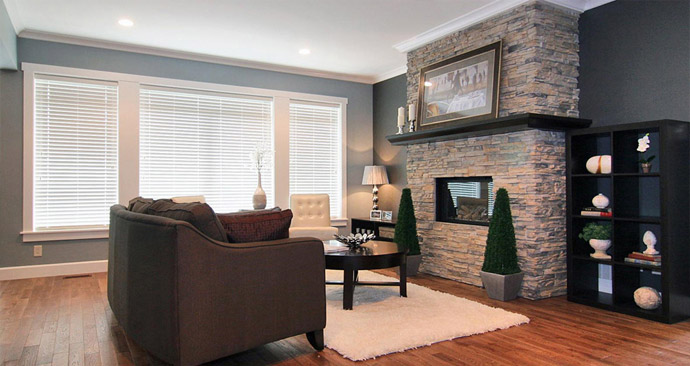 The living room at the new Pines Abbotsford Homes for sale.