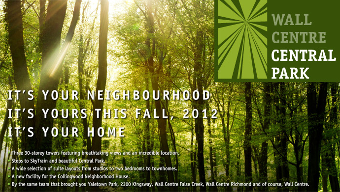 Wall Centre Central Park Burnaby real estate development features 3 condo towers with the park as your back yard.