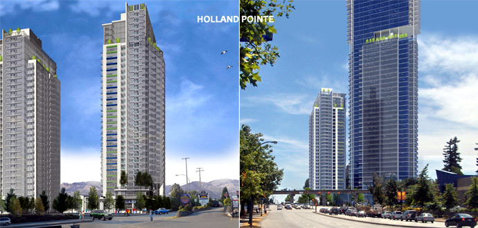 The Century Group Holland Pointe Surrey condo towers in City Centre district are being revived.