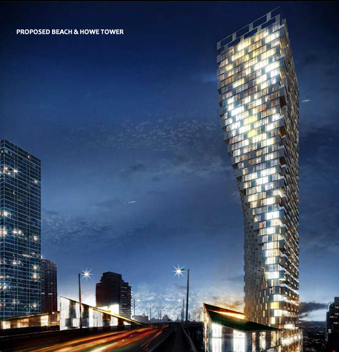Bjarke Ingels Group Beach & Howe Vancouver Landmark condo tower at Granville Street Bridge proposed architectural icon