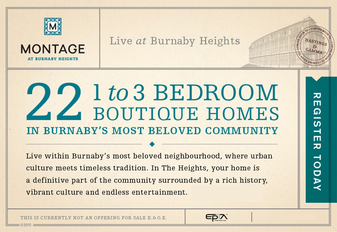 2 launches at the Burnaby Heights Montage and Madison condo home projects by EPTA Properties
