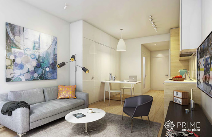 Beautiful interiors at Prime on the Plaza is a new 37 iconic high-rise tower.