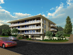 A detailed rendering of this new pre-sales White Rock condominium development at the Promenade oceanfront suites.