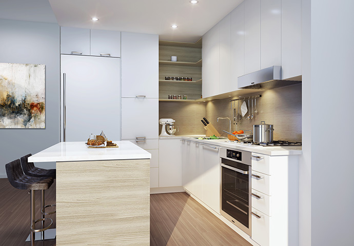 Beautiful custom designed kitchens at the RADIUS Vancouver Kits Apartments.