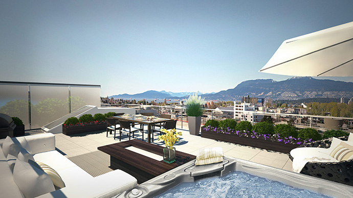 Impressive outdoor living space at the Kits RADIUS Vancouver Westside condo project.