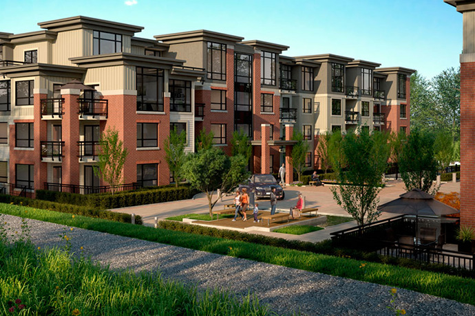 Another rendering of South Burnaby Red Brick apartment building.
