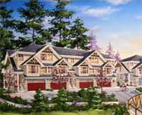 A rendering of the Langley Redwood Bridge Estates which includes upscale three bedroom townhomes for sale.