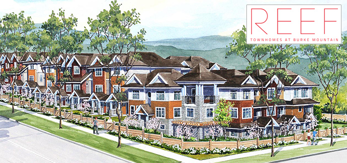 Coquitlam REEF Townhomes at Burke Mountain by Alpha Beta Developments.