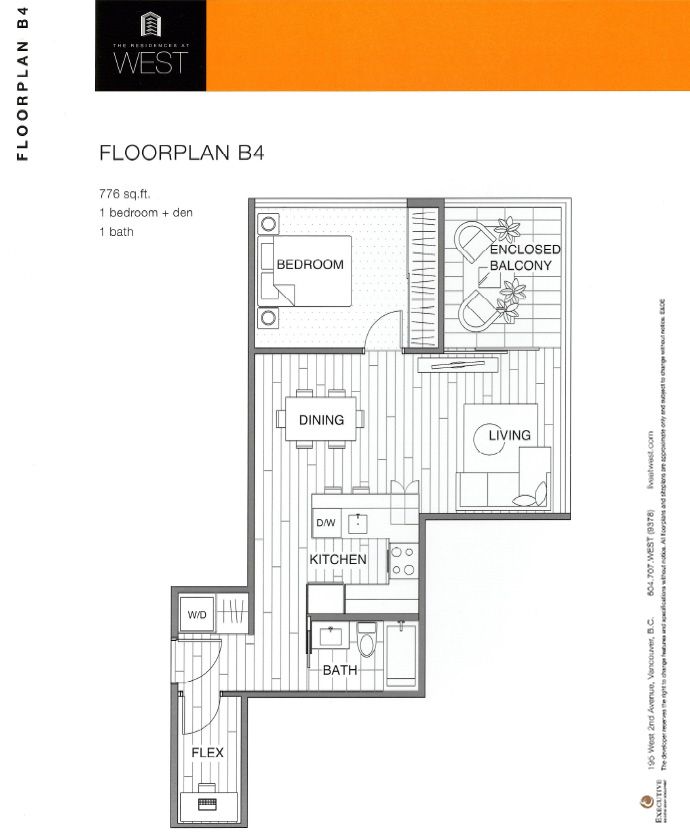 1 Bedroom floorplan at the Vancouver WEST False Creek real estate development