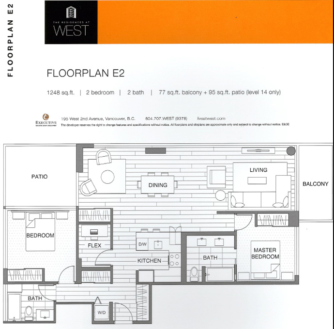 WEST False Creek Vancouver condomiium floor plan