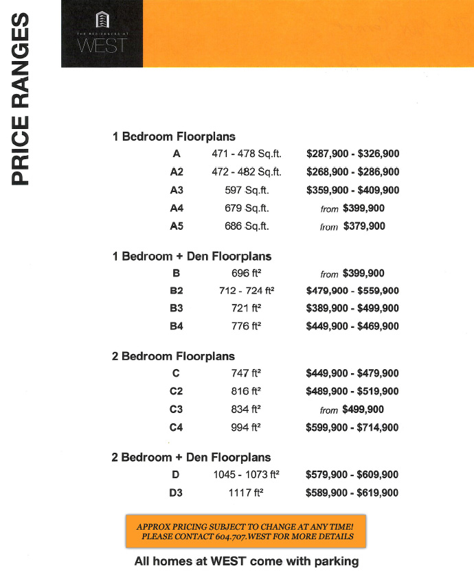 The False Creek Vancouver WEST Residence price chart.