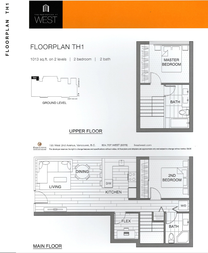 Residences at WEST Vancouver Townhome floor plan that is great for families of all sizes