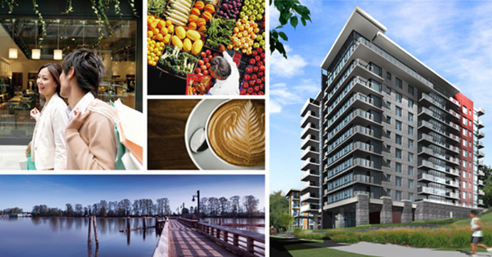Riverfront Vancouver Condos for sale at the River District Rhythm Apartments.