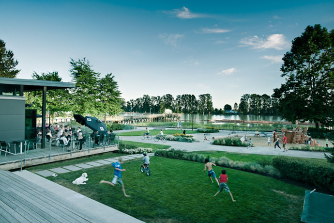New urban park at River District Vancouver South.