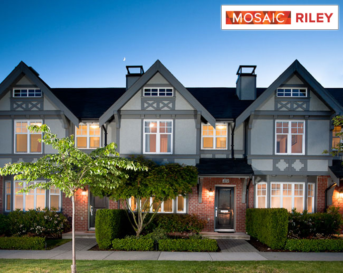 Beautiful English Tudor style architecture by Raymond Letkeman Architects at the new Coquitlam RILEY Rowhomes on the Foothills of Burke Mountain real estate district.