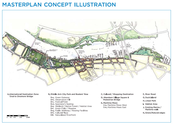 Master plan of RIVA Richmond riverside real estate district at the Oval Village River District