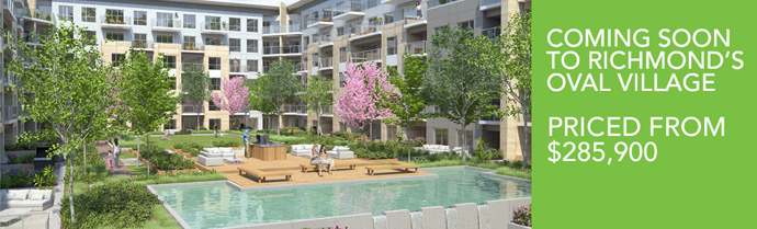 Another rendering of the new Oval Village Richmond RIVA riverside condos on Alderbridge Way Richmond BC