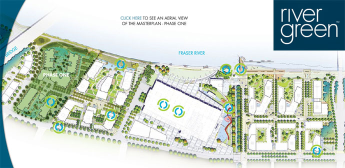 Phase 1 River Green Richmond condo buildings highlighted in this site plan.