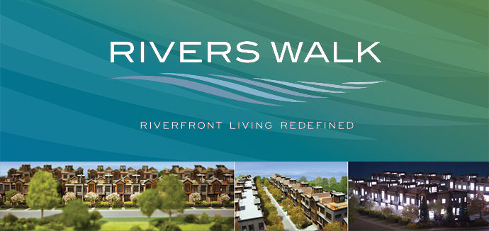 New West Riverside Living at the Rivers Walk New Westminster riverfront townhome project.