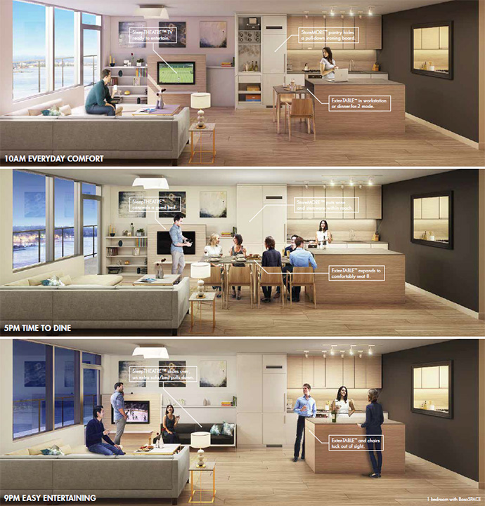 New Westminster RiverSky condos will feature BosaSpace by Bosa in addition to StoreMORE SleepTHEATRE and ExtenTABLE features.