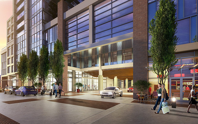 Beautiful entrance to New West River Sky condo tower.