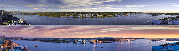 Panoramic water, mountain and city views from RiverSky condos in New Westminster BC.
