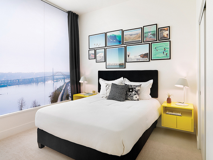 Beautiful bedrooms with views at The Brewery District master planned New Westminster Wesgroup development.