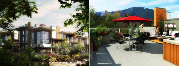 Spacious outdoor living and rooftop lanais are a signature Adera development feature.