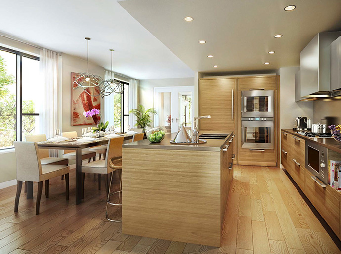 The modern kitchens at Shannon Wall Centre Kerrisdale condominium residences and townhomes.