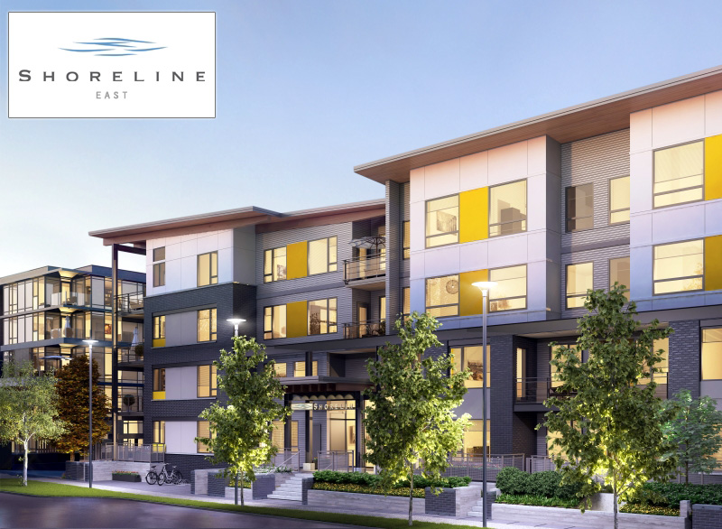 Presale Vancouver River District Shoreline East condo building rendering.