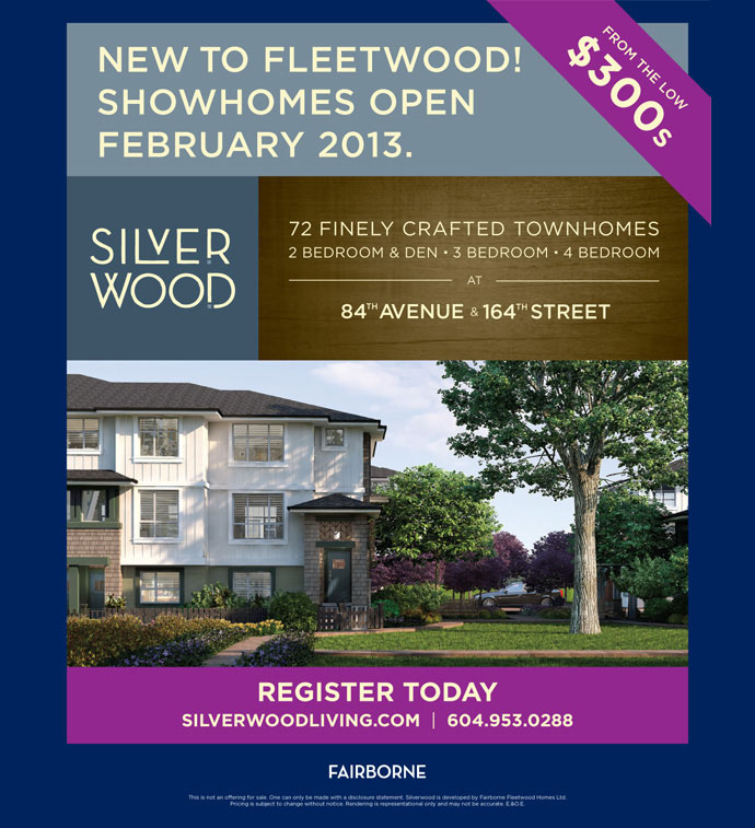Presales Surrey Silverwood Townhomes by Fairborne Homes.