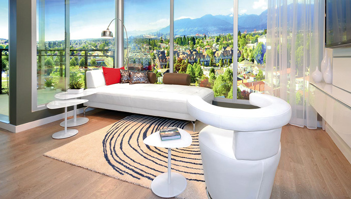 Open concept living spaces at the pre-construciton Vancouver Skyway Tower by THIND Properties.