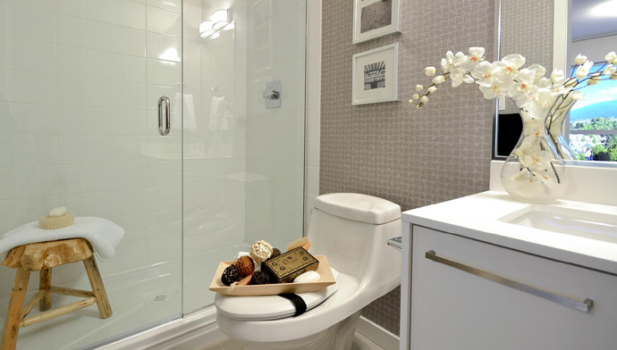 Spa inspired bathrooms at the Skyway Vancouver condos for sale.