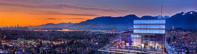 Beautiful panoramic views from Burnaby's tallest tower in Brentwood real estate district.