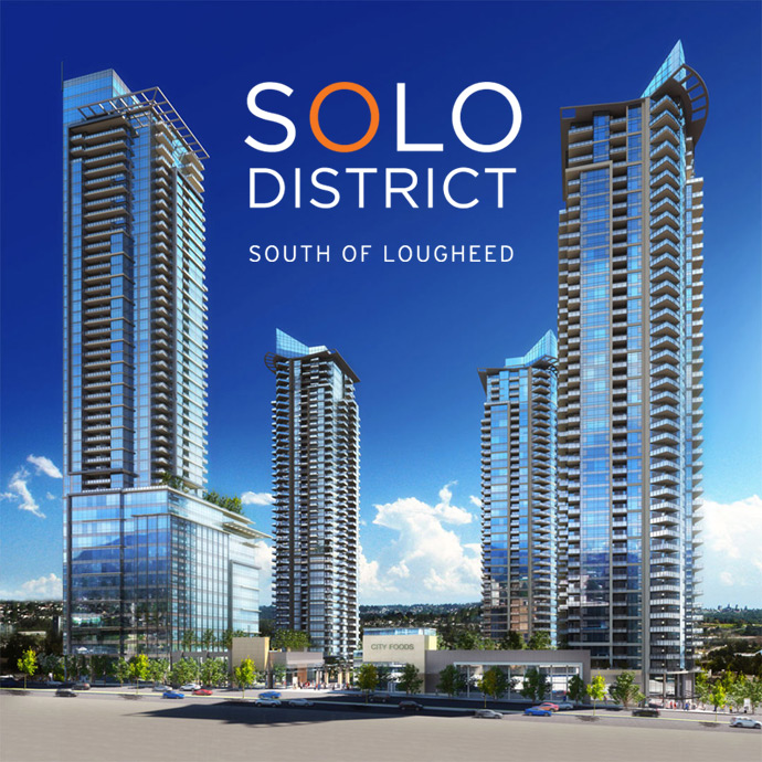 North Burnaby Brentwood SOLO District condo towers.