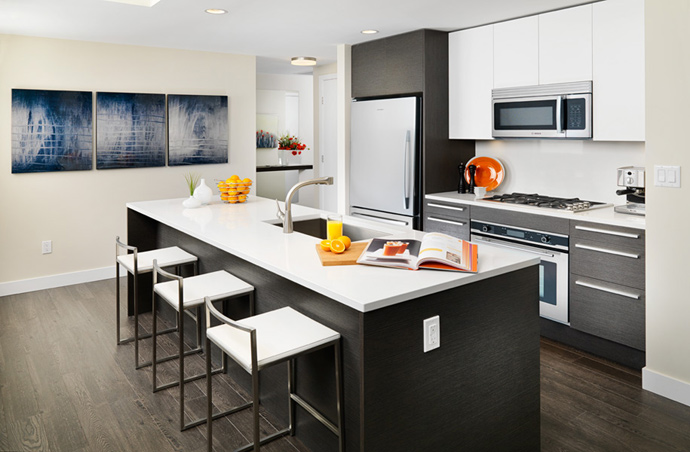 Another rendering of the pre-construction Burnaby STRATUS condominium kitchens.