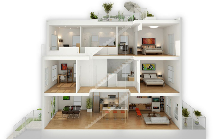A cross-section layout at the presale Vancouver SOMA townhouse project.