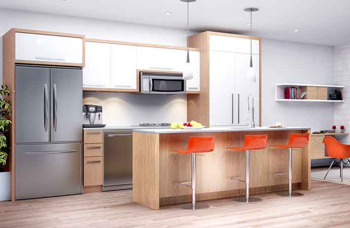 Spectacularly designed and open concept kitchens at the SOMA Vancouver South Main townhomes.