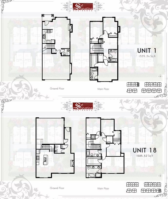 Two sample half duplex floorplans.