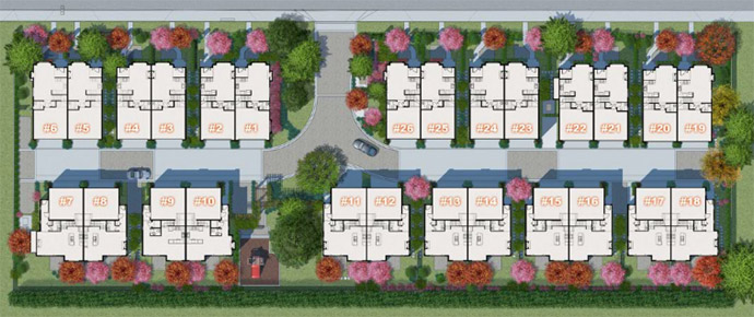 26 homes for sale at the Richmond Sonatina duplex townhouse project.