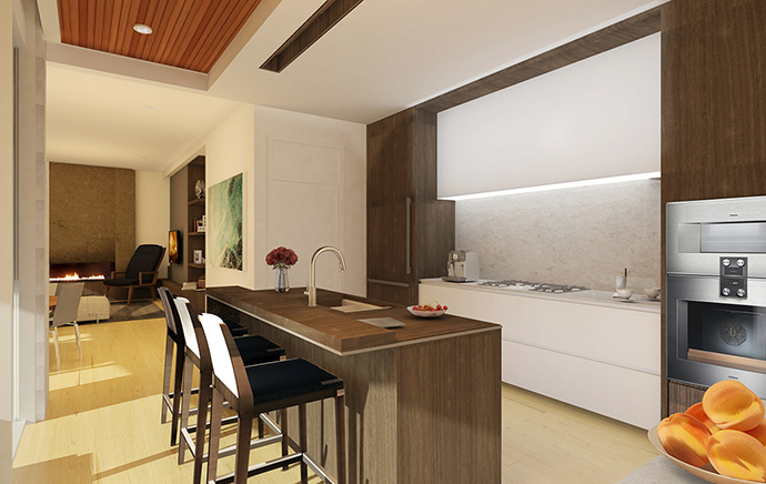 Exceptional kitchens with solid wood cabinetry, quartz counters and premium appliances at the West Side Vancouver SOTA Homes.