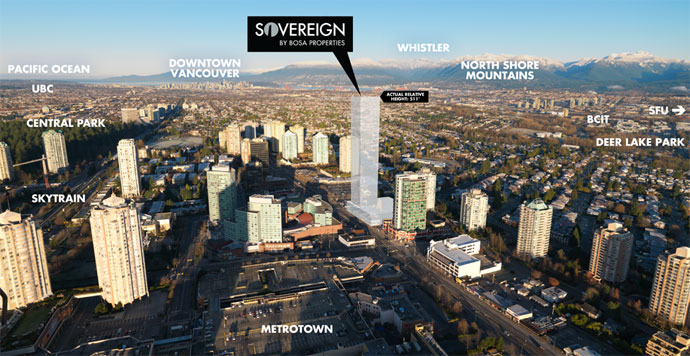 An arial view of the pre-construction Burnaby condos at The Sovereign Metrotown.