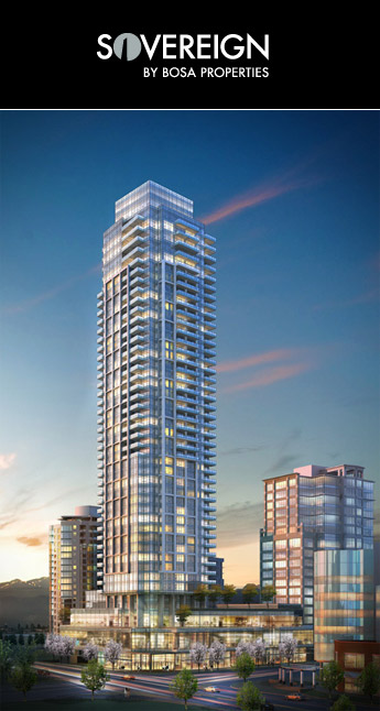 The landmark Burnaby condo hotel at The Sovereign by Bosa Properties.
