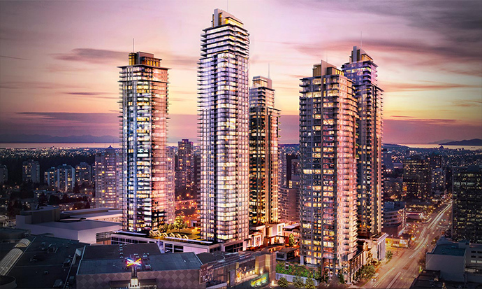 Rendering of the 4 towers at Station Square Phase 2 Burnaby highrises.