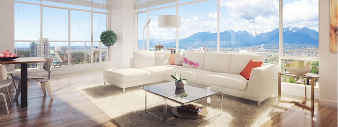 A render of the new Metrotown Burnaby Station Square living room features.