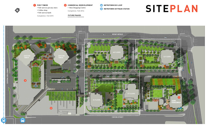 The Site Plan at the Station Square Metrotown Burnaby condo development.