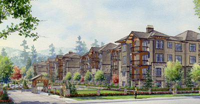 Building rendering of Maple Ridge's Stonegate Condominium homes.