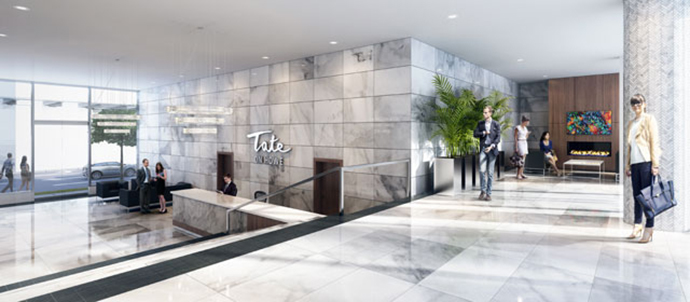 The Tate on Howe amenities includes a welcoming lobby.