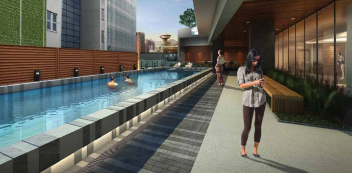 Outdoor lap pool and outdoor terrace in addition to the Wellness Centre make up the boutique Vancouver Telus Garden amenities.